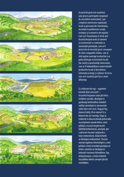 Back of our booklet (click to enlarge), showing the status quo landscape and four alternative futures