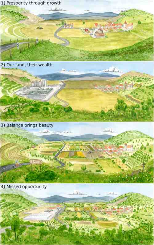 Scenario paintings showing possible future conditions in Southern Transylvania