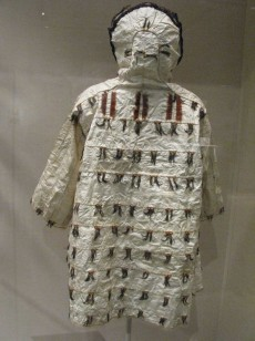 Alaskan Aleut dress parka, gutskin, auklet beaks, feathers, c. 1900.   http://danaenatsis.com/2012/06/14/a-helluva-town/
