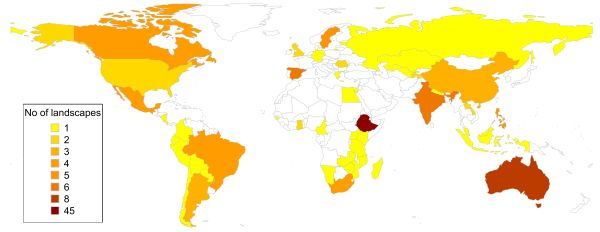 Map of the number of responses per country that we got in the last four weeks. Ethiopia obviously stands out as we have a case study landscape there as well and we seem to be quite well connected to experts in the country.